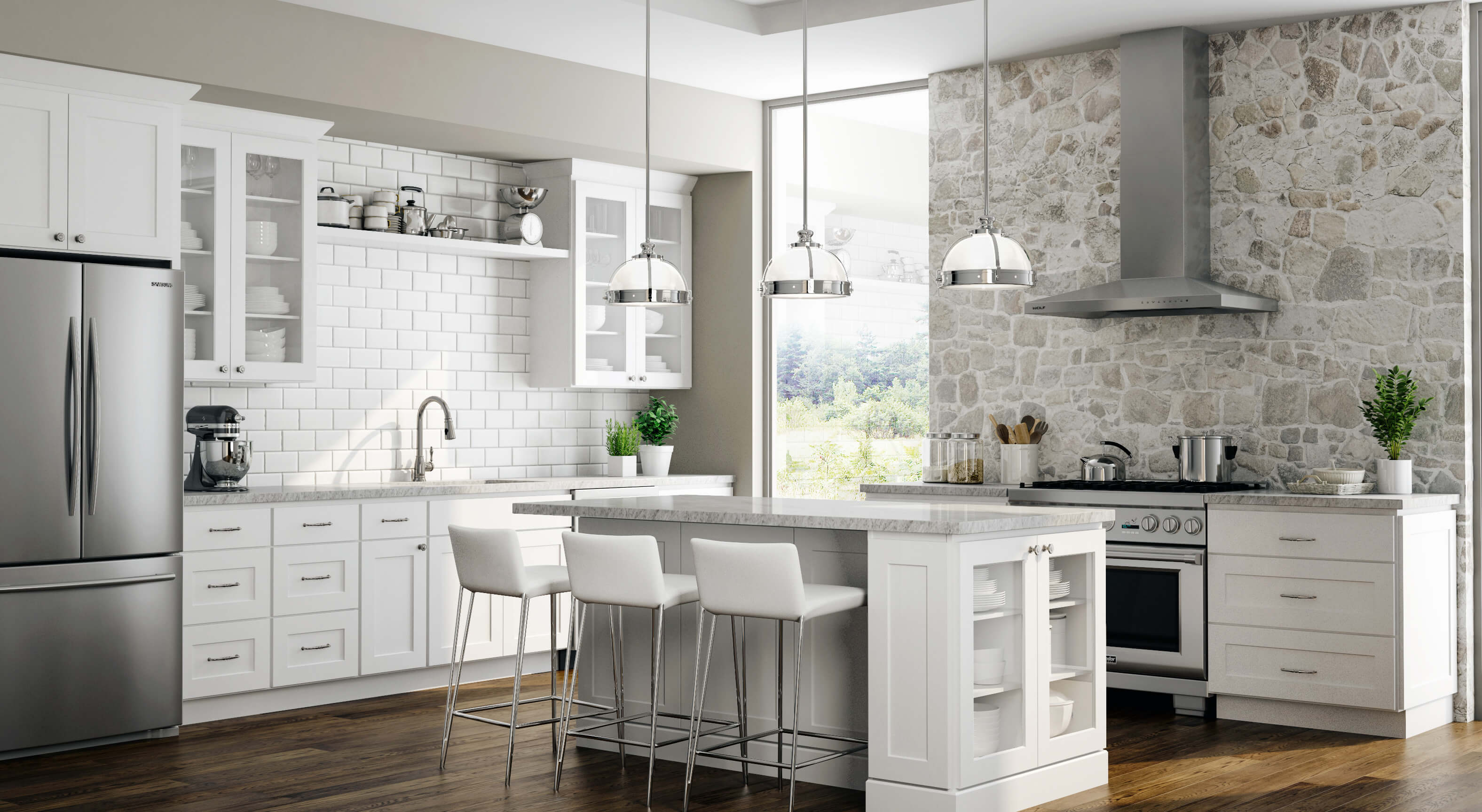 Beautiful kitchen with ready to assemble Dover shaker cabinets