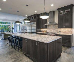 New kitchen featuring Fabuwood Galaxy Cobblestone shaker gray kitchen cabinets