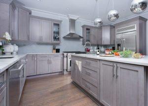 New kitchen featuring Fabuwood Galaxy Horizon shaker gray kitchen cabinets