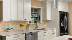 New kitchen featuring Fabuwood Galaxy Linen shaker off white kitchen cabinets