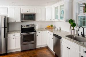 New kitchen featuring Fabuwood Hallmark Frost shaker white kitchen cabinets