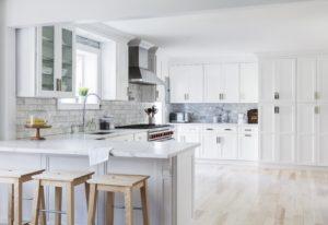 New kitchen featuring Fabuwood Nexus Frost shaker white kitchen cabinets