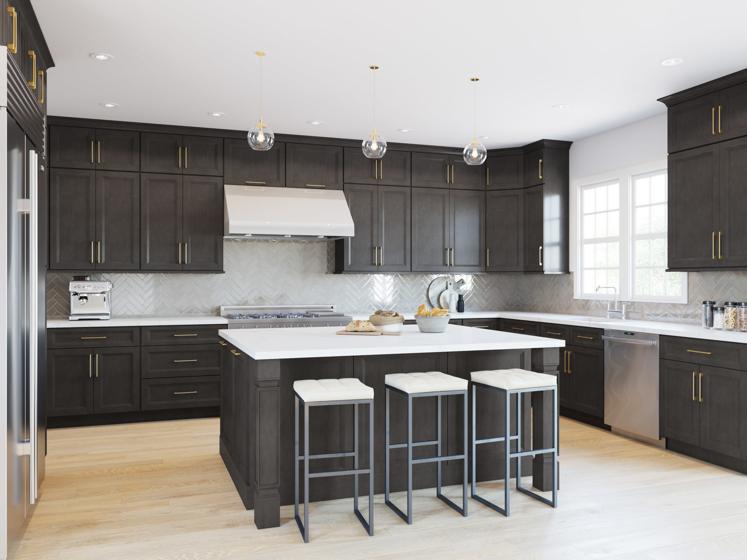 New kitchen featuring Fabuwood Onyx Cobblestone shaker gray kitchen cabinets