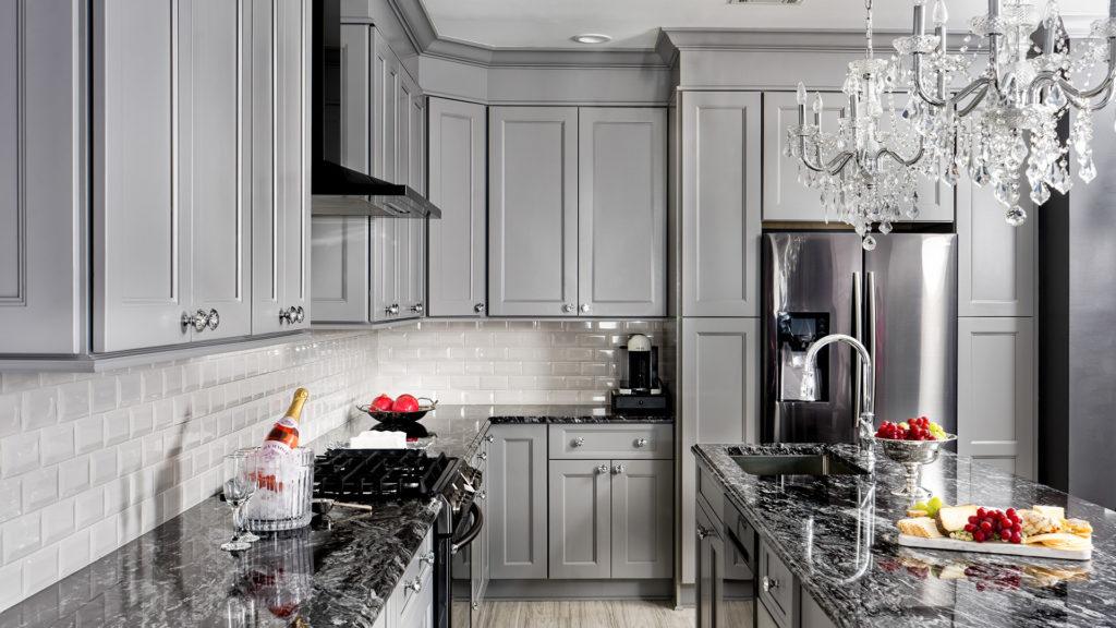 Modern kitchen with grey shaker Fabuwood Nexus Slate cabinets