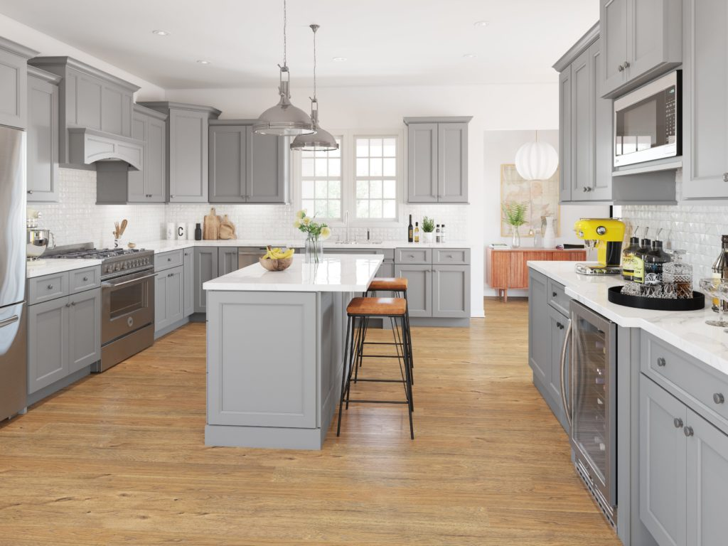 Gray cabinets acceuntuate the architectural details in this fantastic kitchen