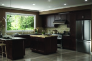 New kitchen featuring CNC Cabinetry Luxor Espresso shaker dark stained kitchen cabinets