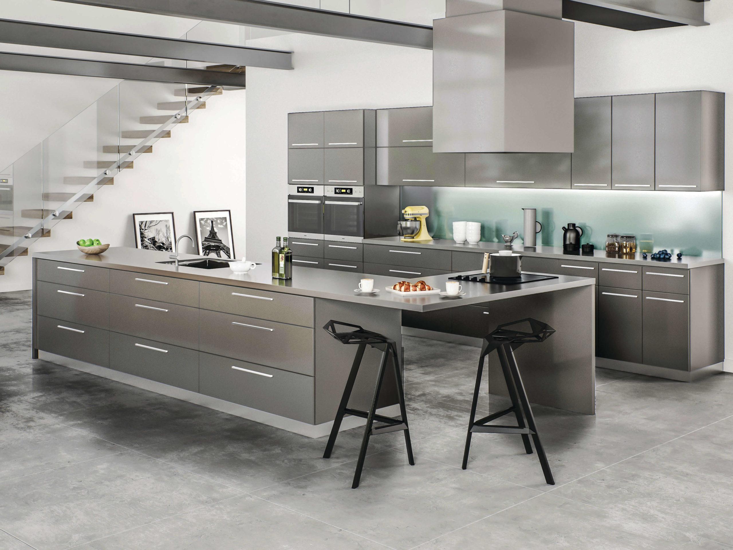 New kitchen featuring CNC Cabinetry Matrix Greystone shaker grey kitchen cabinets