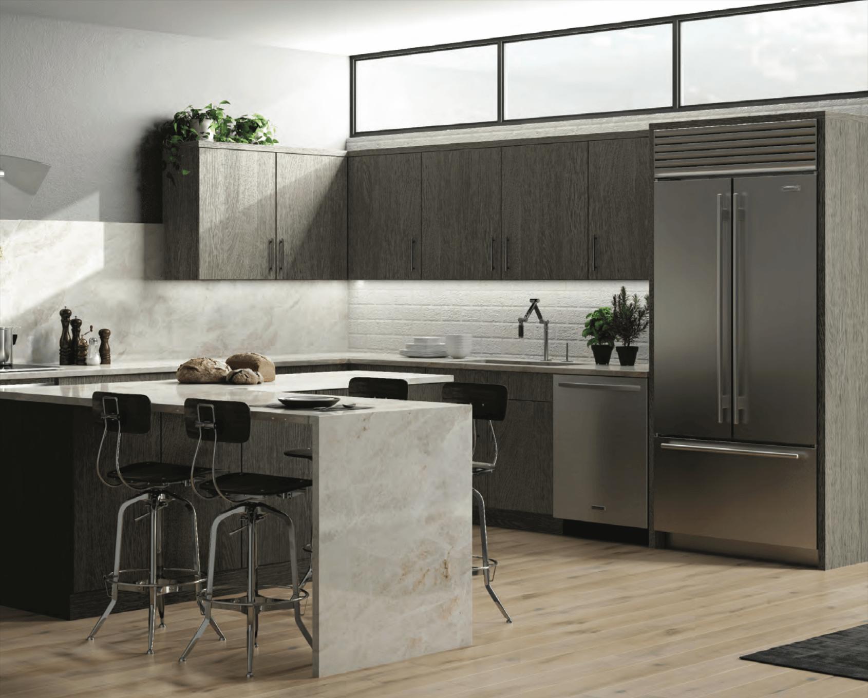 New kitchen featuring CNC Cabinetry Matrix SIlver laminate gray kitchen cabinets