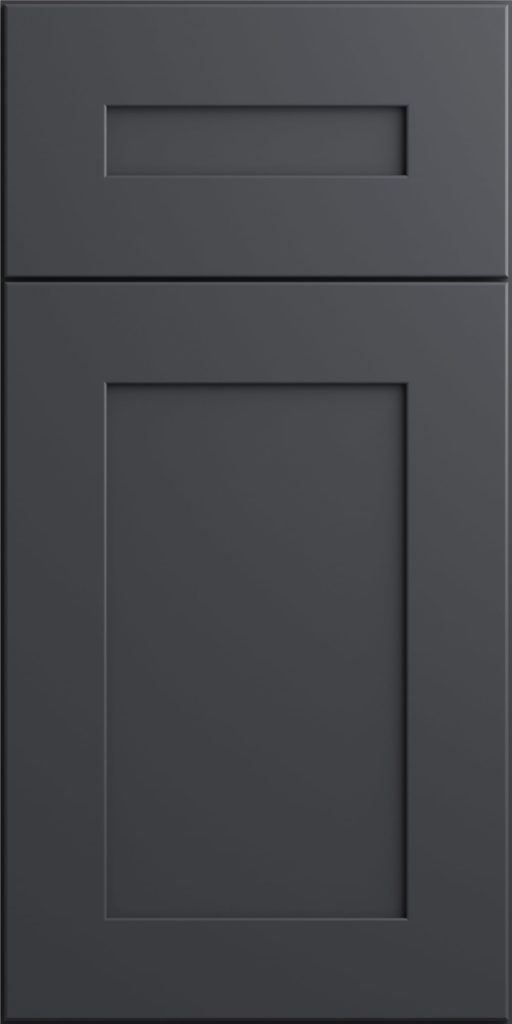 Ideal Cabinetry Norwood Deep Onyx dark gray shaker kitchen cabinets door and drawer sample