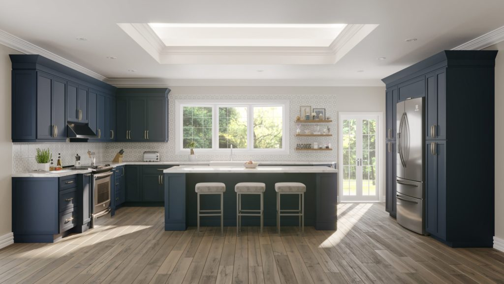 A blue kitchen designed by walcraft cabinetry