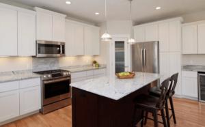 New kitchen featuring KCD Shaker Designer White Slab white shaker pre-assembled kitchen cabinets