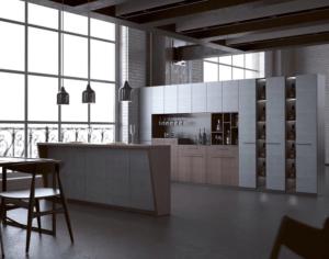 New modern kitchen featuring Golden Homes Concrete grey laminate rta kitchen cabinets
