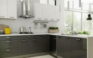 New modern kitchen featuring Golden Homes Glossy Grey grey glossy laminate rta kitchen cabinets