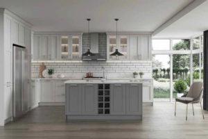 New modern kitchen featuring Golden Homes Grey Shaker grey shaker rta kitchen cabinets