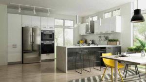 New modern kitchen featuring Golden Homes Glossy White white laminate rta kitchen cabinets