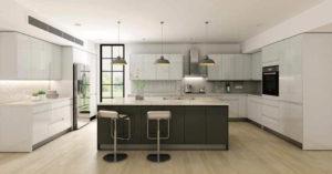 New modern kitchen featuring Golden Homes Lacquer White white laminate rta kitchen cabinets