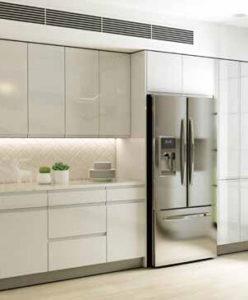 New modern kitchen featuring Golden Homes Lacquer White white laminate rta kitchen cabinets2