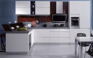 New modern kitchen featuring Golden Homes Lacquer White white laminate rta kitchen cabinets 2