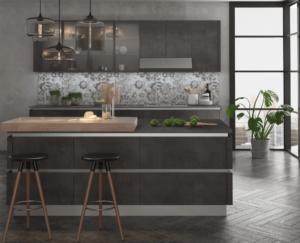 New modern kitchen featuring Golden Homes Rustic Grey grey laminate rta kitchen cabinets
