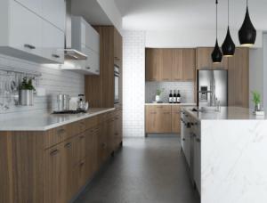New modern kitchen featuring Golden Homes Walnut stained laminate rta kitchen cabinets