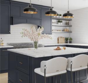 New kitchen featuring Fabuwood Galaxy Indigo shaker blue kitchen cabinets